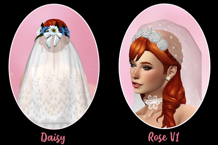 Daisy and Rose Veil Set Sims 4 CC screenshot
