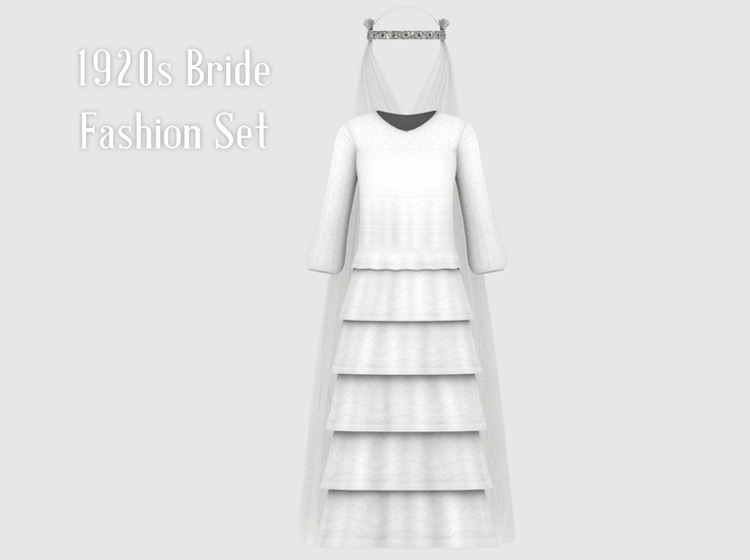 1920s Wedding Fashion Set – Bride Hat With Veil for Sims 4