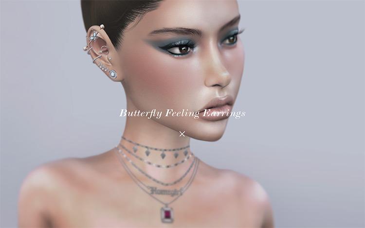 Butterfly Feeling Earrings Set Sims 4 CC