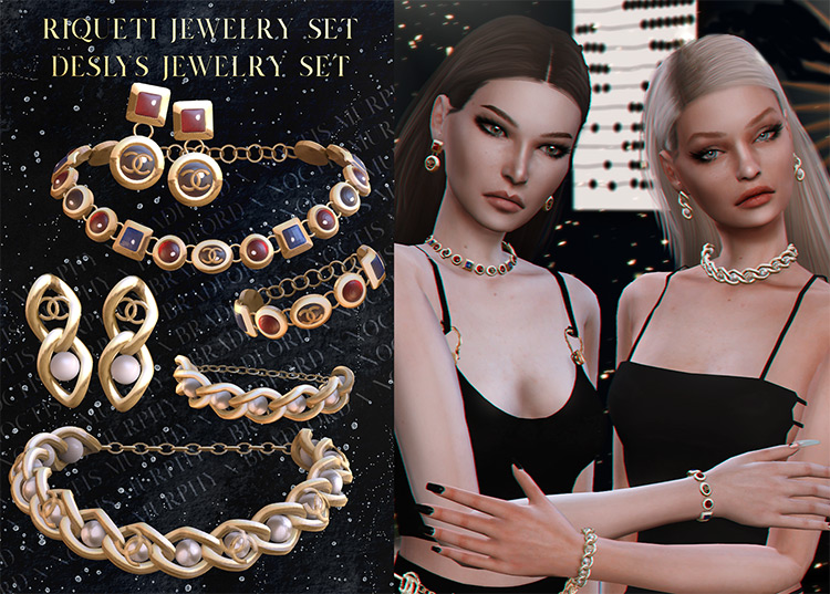 Riqueti and Deslys Jewelry Sets Sims 4 CC