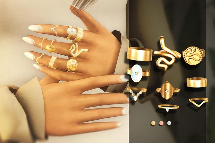 Boho Rings Sims 4 CC