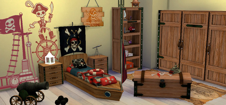 Sims 4 pirate-themed room decor CC