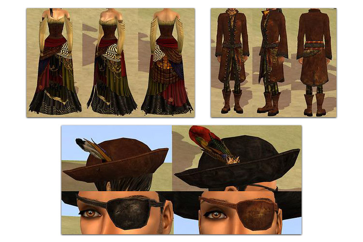 Pirate King and Queen Outfits Sims 4 CC screenshot