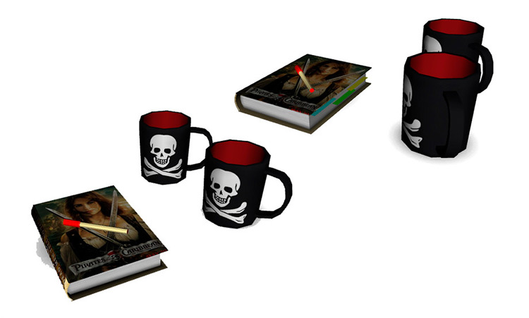 Skull and Cross Bones Cups for Sims 4