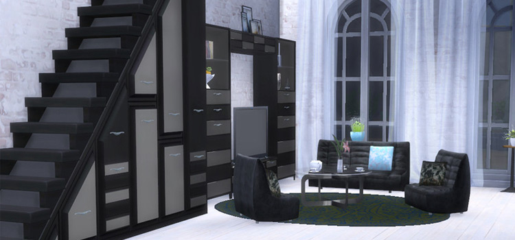 Black Modern Living Space - Custom Sims4 Stairs CC