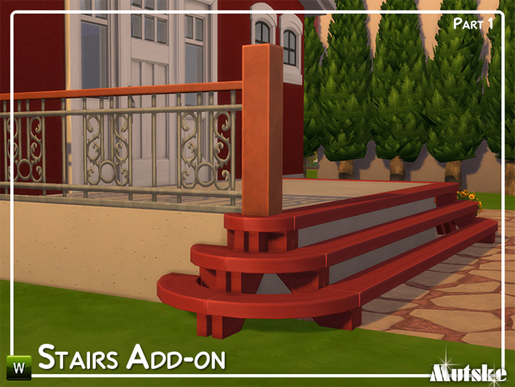 Stairs Add-on pt1 - Red Porch Stairs in TS4