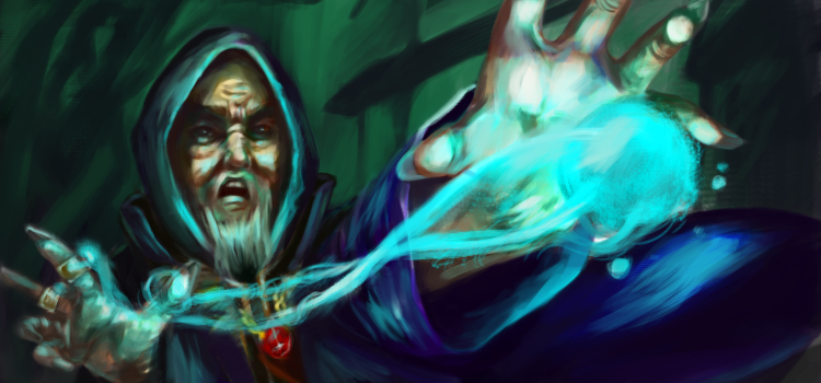 Magical sorcerer casting a spell