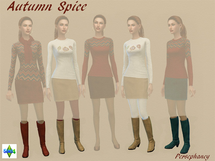 Autumn Spice Boots CC for Sims 4
