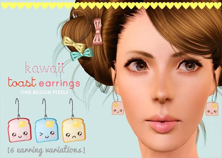 Kawaii Toast Earrings CC for Sims 4