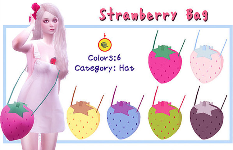 Strawberry Bag Sims 4 CC screenshot