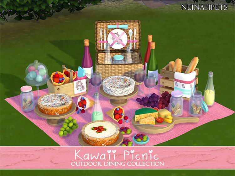 Kawaii Picnic Outdoor Dining Collection Sims 4 CC