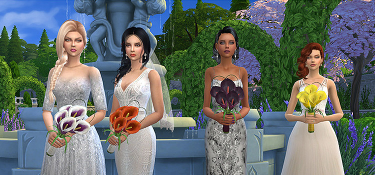 Sims 4 Wedding Girls holding custom bouquets