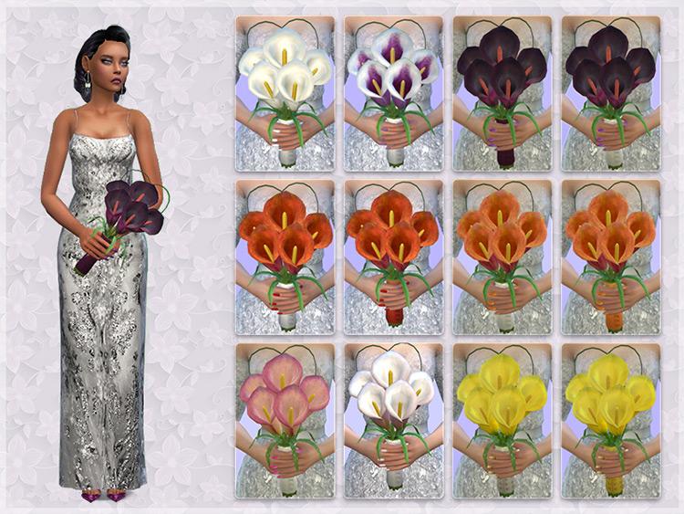 Calla Lily Wedding Bouquet Sims 4 CC