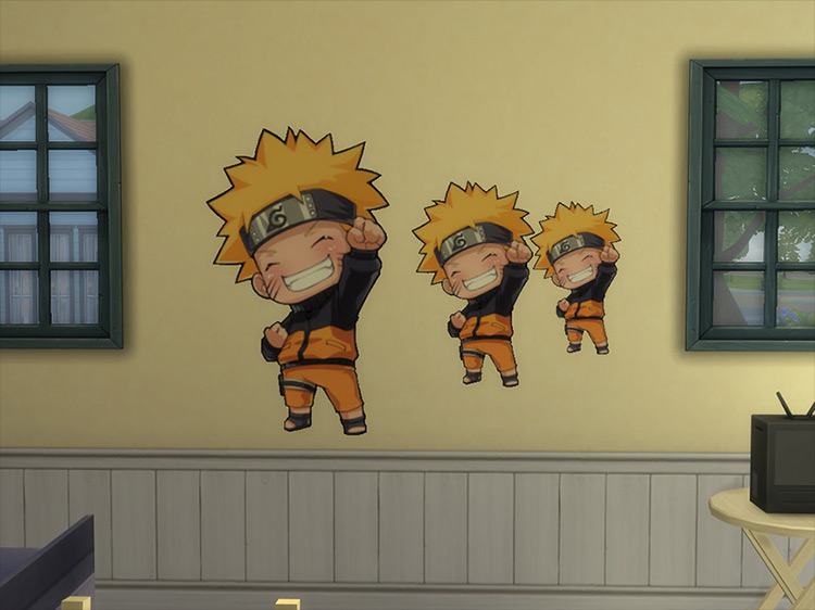 Naruto Chibi Wall Sticker CC for Sims 4
