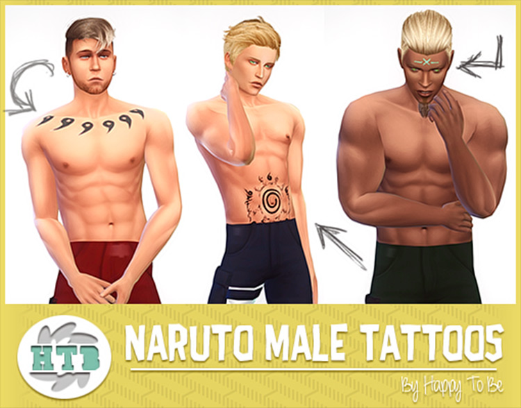 Naruto Male Tattoos CC for Sims 4