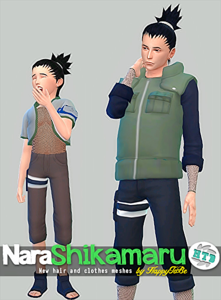 Nara Shikamaru Clothes and Hair CC for Sims 4