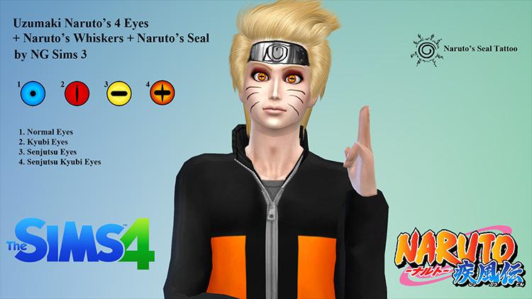 Naruto Eyes, Whiskers, and Seal Sims 4 CC