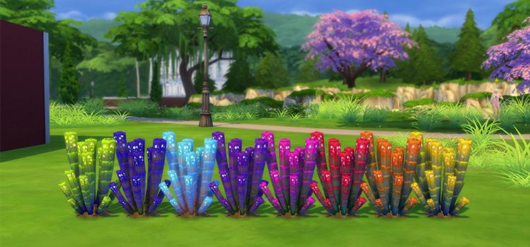 Rainbow garden plants mod in The Sims 4