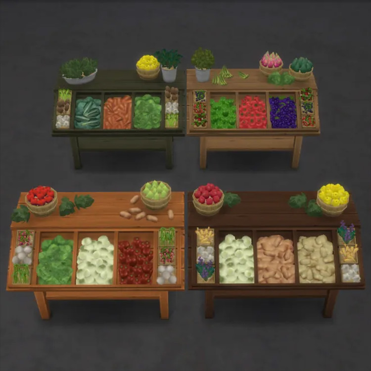 Retail Produce Stands CC for Sims 4