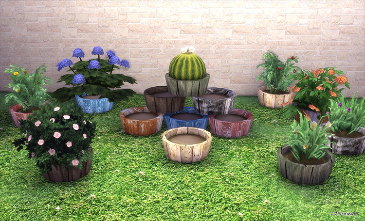 Wooden Pot CC for Sims 4