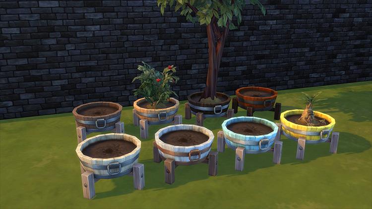 Barrel Planter Sims 4 CC screenshot