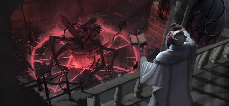 Sorcerer performing dark ritual