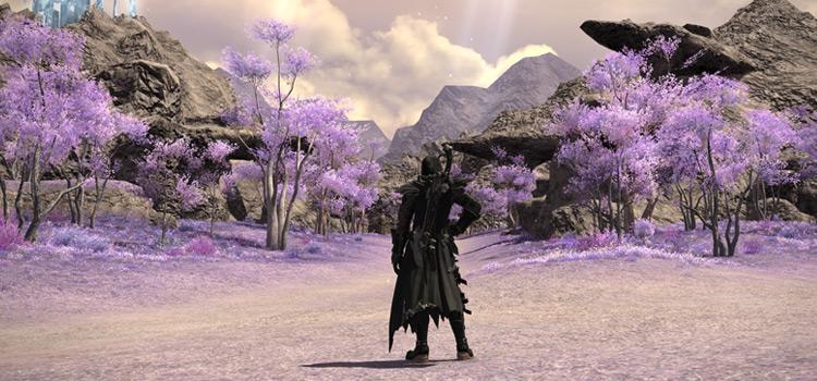 Screenshot of purple path to Crystal Tower / FFXIV