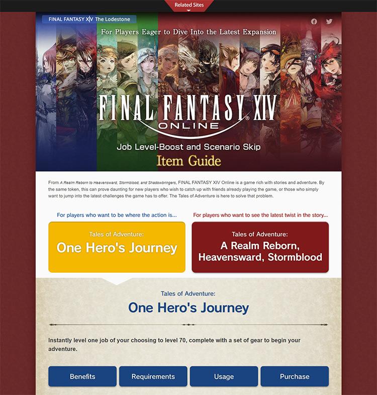 Square Enix Hero's Journey Levelboost Page