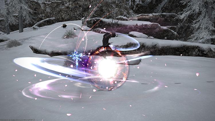 Winter attack in battle / FFXIV HD Screenshot