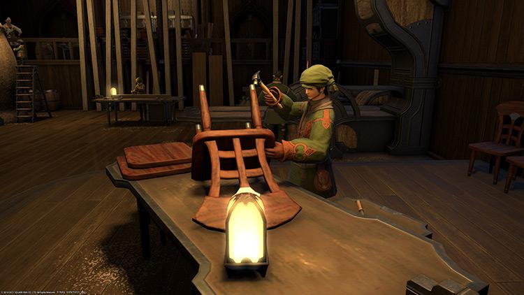 Carpenter crafting a wooden chair / FFXIV HD Screenshot