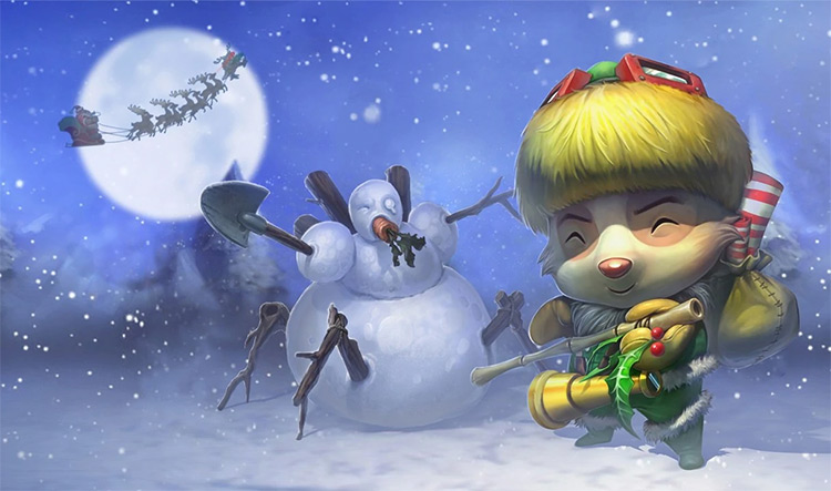Happy Elf Teemo Splash Art / LoL