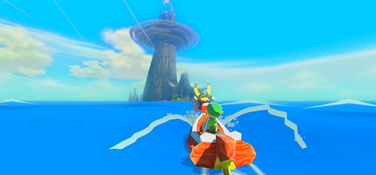 Link Riding a Boat in LoZ The Wind Waker