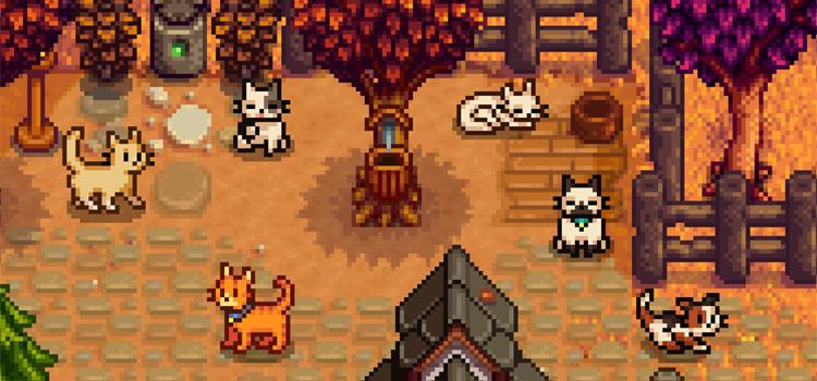 Different Breeds of Custom Cats (Stardew Valley Screenshot)