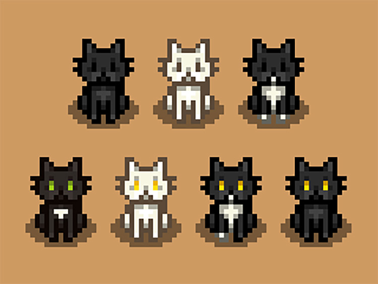 Black White Tuxedo Cat Recolours Mod for Stardew Valley