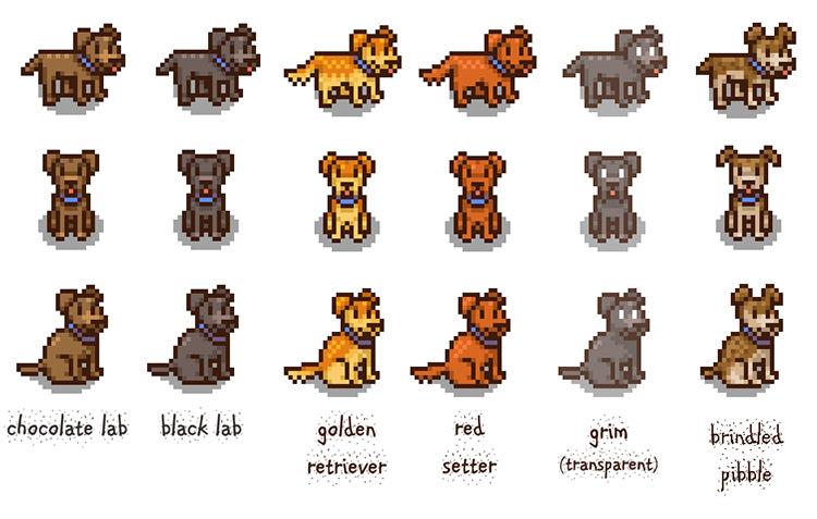 Red's Dog Reskins Mod for Stardew Valley