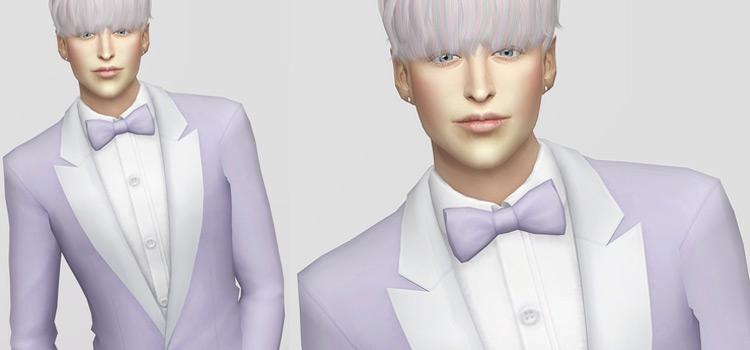 White Tux Bowtie CC for Men (Sims 4)