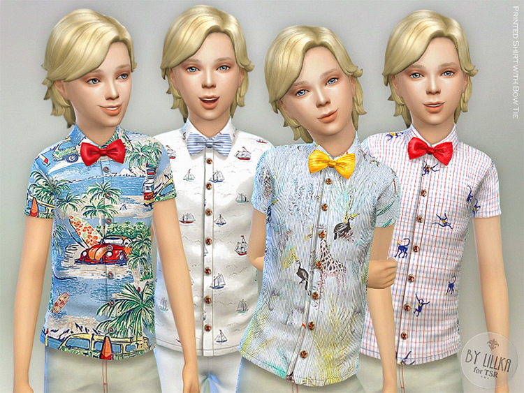 Printed Shirt With Bow Tie / TS4 CC