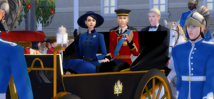 Royal family in carriage pose (The Sims 4)