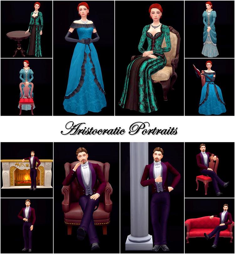 Aristocratic Portraits Poses by Atashi77 TS4 CC