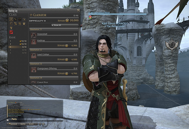 Hunting Log Open On-Screen in FFXIV