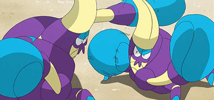 Crabrawler fighting in the Pokémon Anime