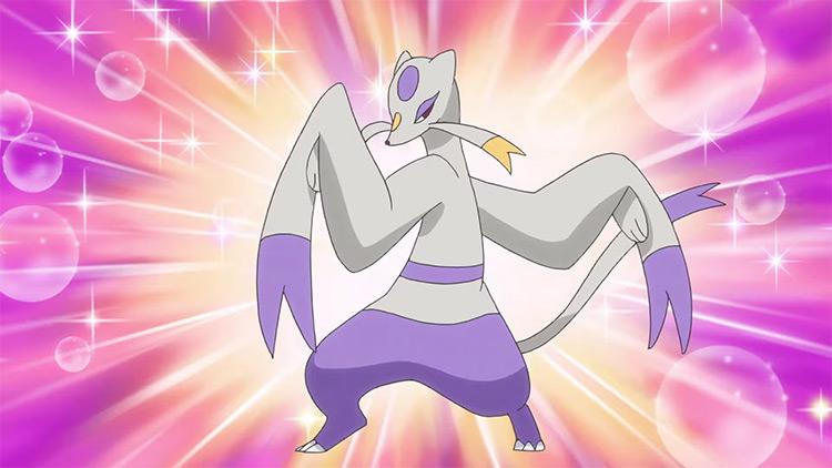 Mienshao from Pokemon anime screenshot