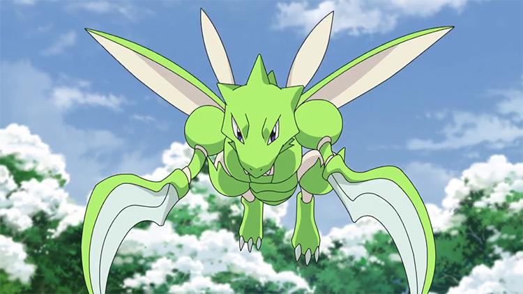 Scyther from Pokemon anime screenshot