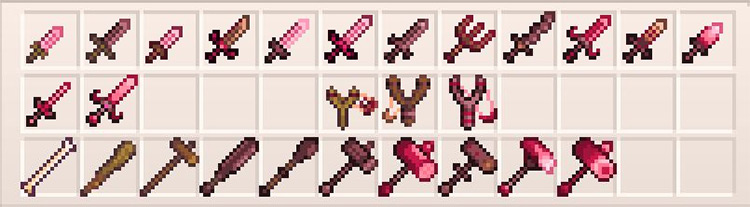 Soft Pink Weapons Mod for Stardew Valley