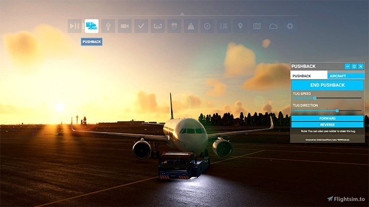 Toolbar Pushback mod for Microsoft Flight Simulator