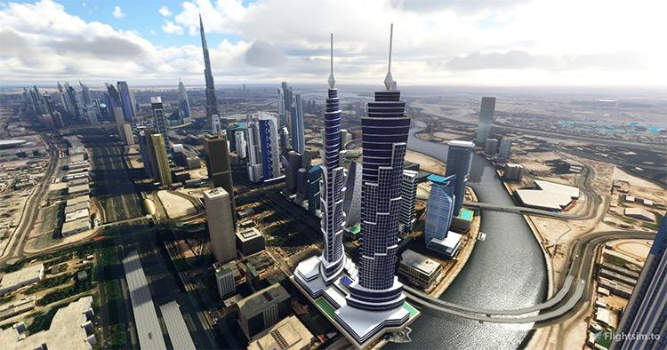 Dubai Landmarks mod for Microsoft Flight Simulator