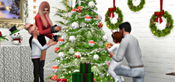 Sims 4 Christmas Tree Pose with Family (Preview)
