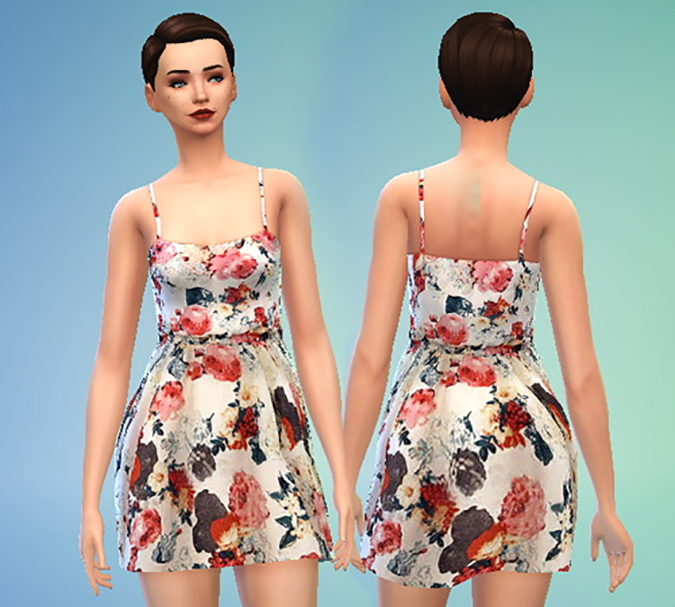 Pure Sims Floral Print Dress for The Sims 4