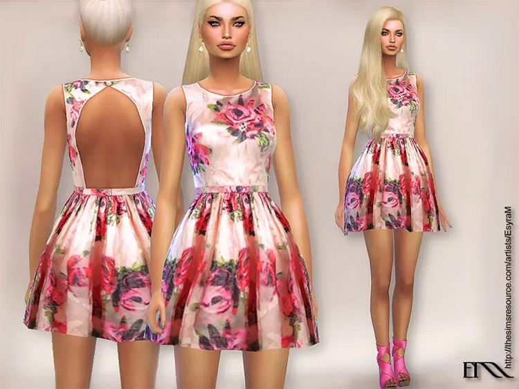Adore Floral Dress CC for The Sims 4