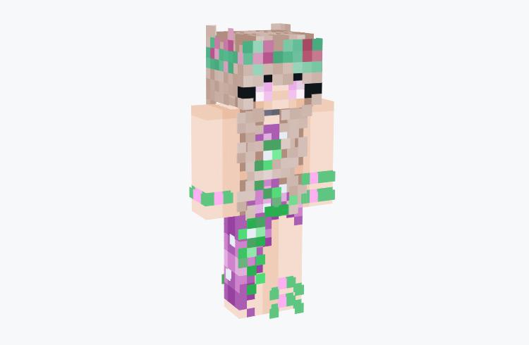 Flower Fairy Girl in Purple Dress / Minecraft Skin